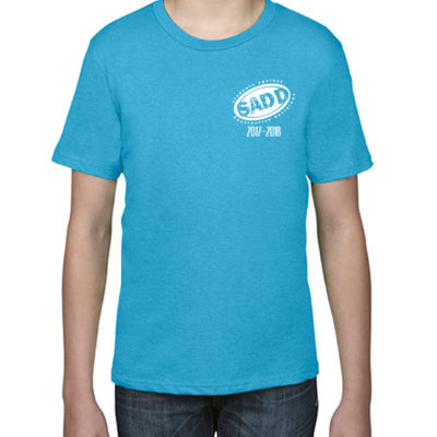 Anvil 990B Youth SS Heather Caribbean Blue Front